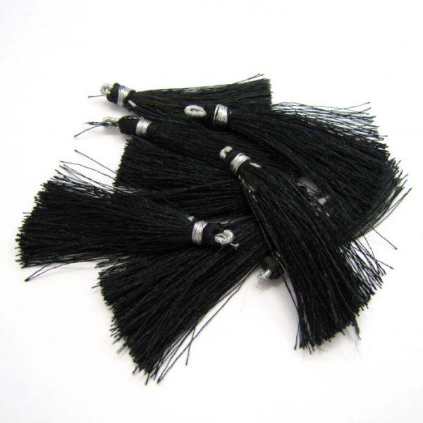 4.5cm silk tassel with loop black