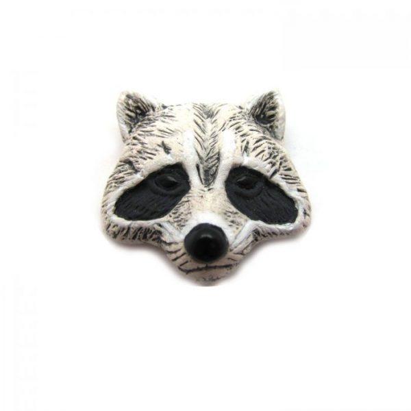 Ceramic Bead Large Raccoon Face front view