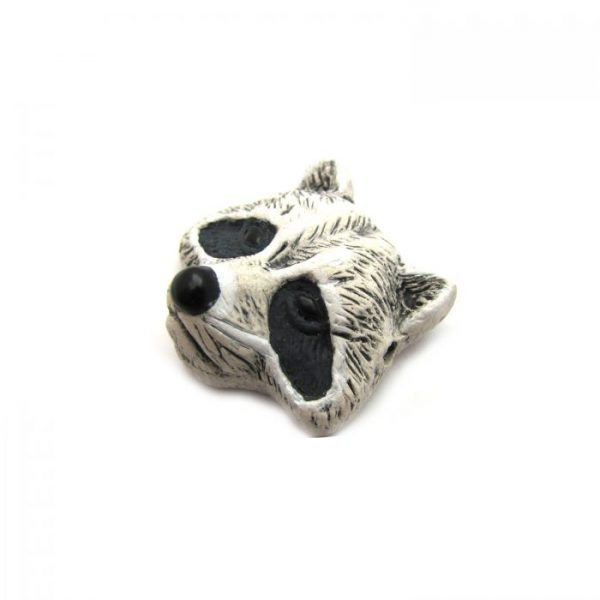 Ceramic Bead Large Raccoon Face side view