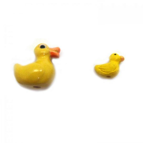 Ceramic Bead Large and Small Duck side view