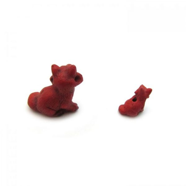 Ceramic Bead Large and Small Fox back view