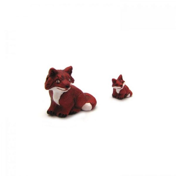 Ceramic Bead Large and Small Fox front side view