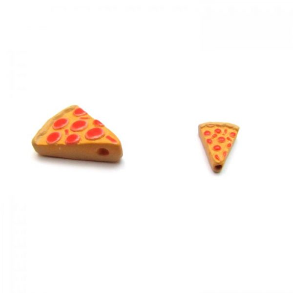 Ceramic Bead Large and Small Pizza Slice side view