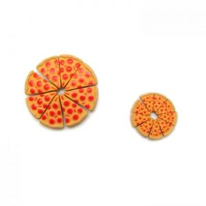 Ceramic Bead Large and Small Pizza Slice whole pizza