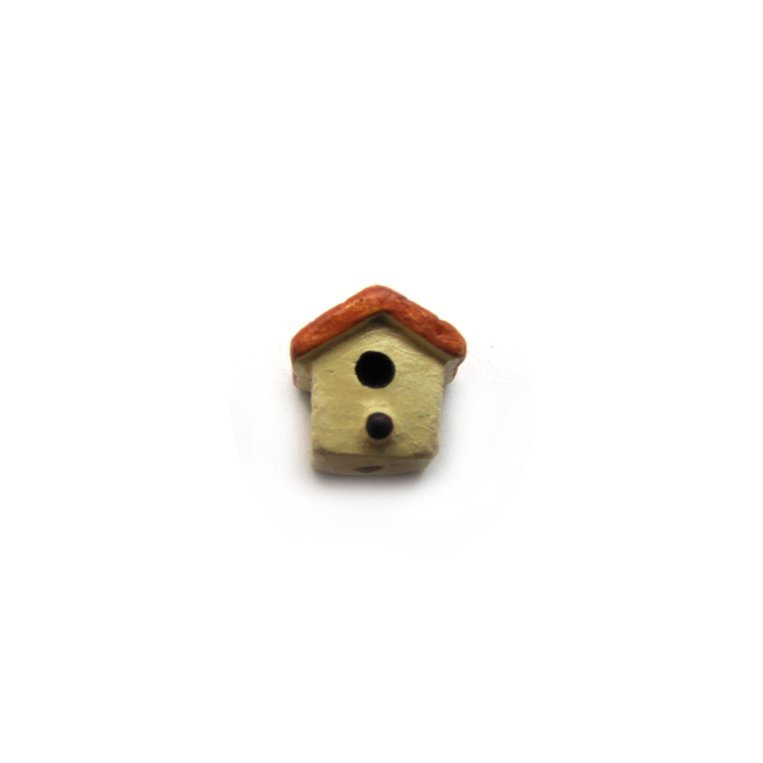 bird house front view small ceramic bead