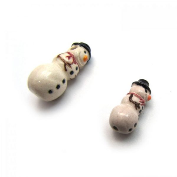 ceramic animal beads large and small - snowman