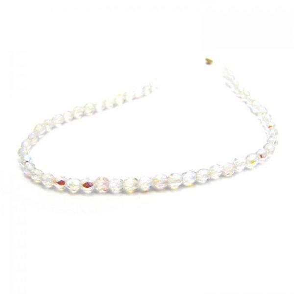 czech fire polished glass - crystal ab single strand