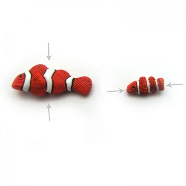 Clown fish ceramic beads large and small HOLES
