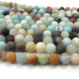 Matte Mixed Amazonite smooth round strands