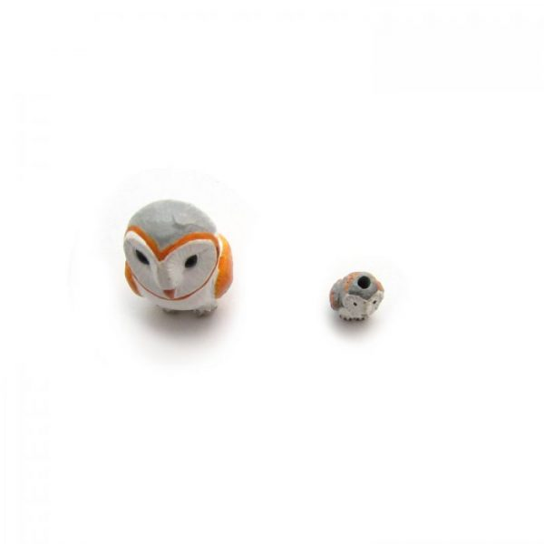 barn owl large and small ceramic beads