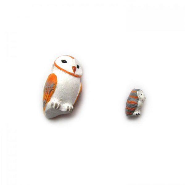 barn owl side on large and small ceramic beads