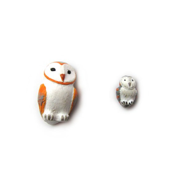 barn owls large and small ceramic beads