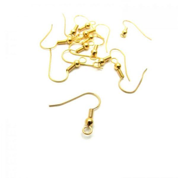 base metal gold plated french hook with ball