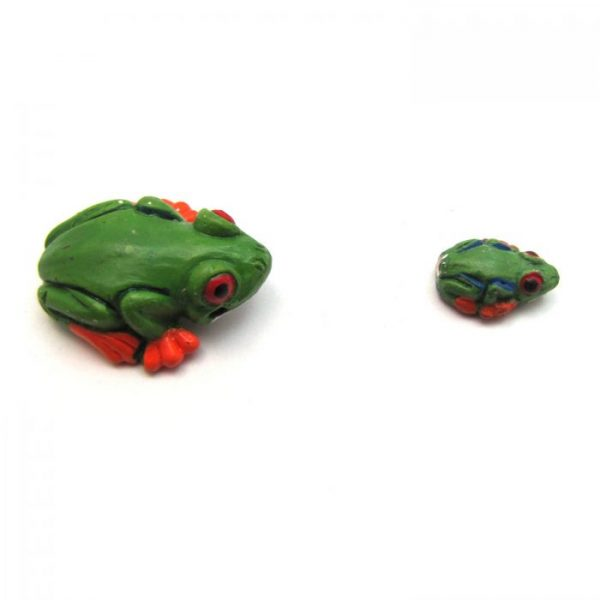 ceramic animal beads large and small - tropical frog