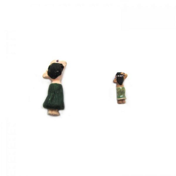 ceramic bead large and small hula girl back view
