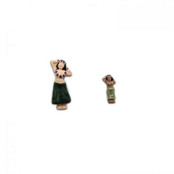 ceramic bead large and small hula girl front view