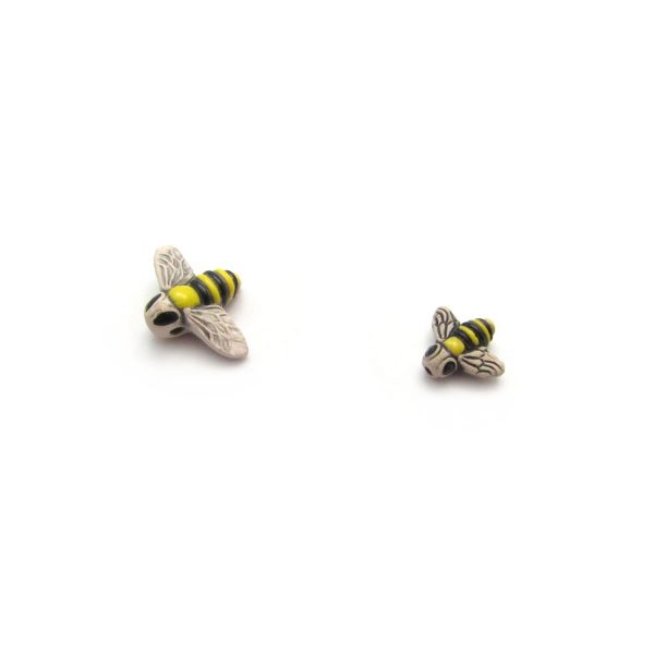 ceramic bead large and small bee side on