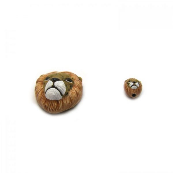 ceramic bead large and small lion head bottom view