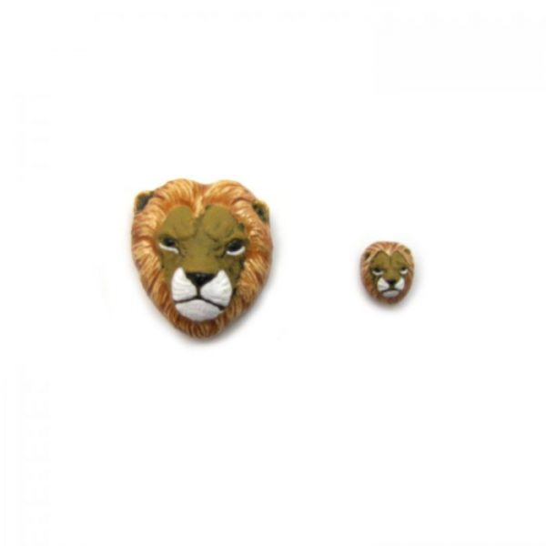 ceramic bead large and small lion head front view