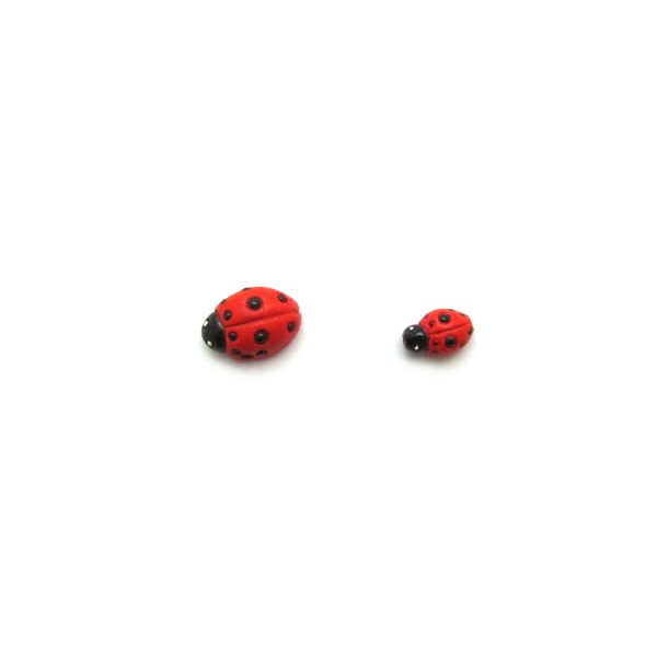 ceramic bead large and small red lady bug