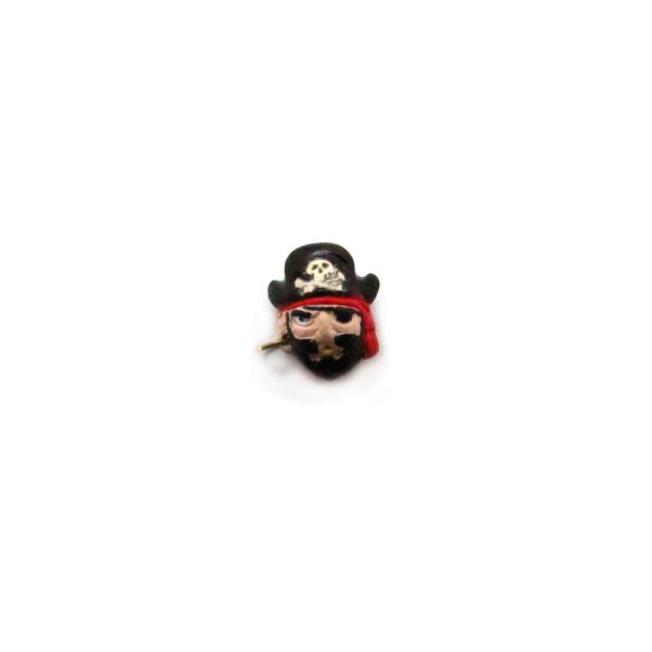 ceramic bead large pirate captain head front view