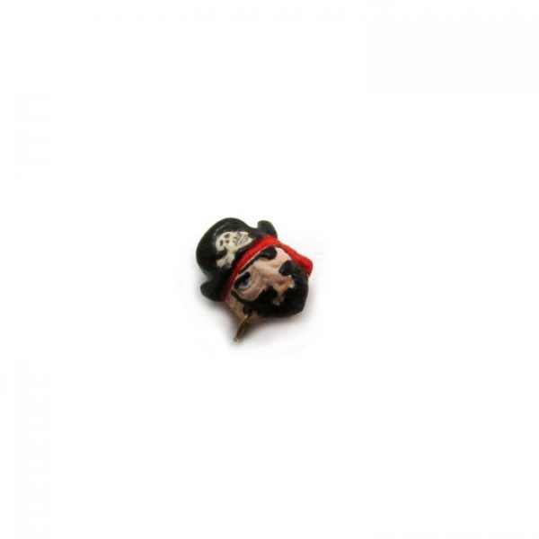 ceramic bead large pirate captain head side view