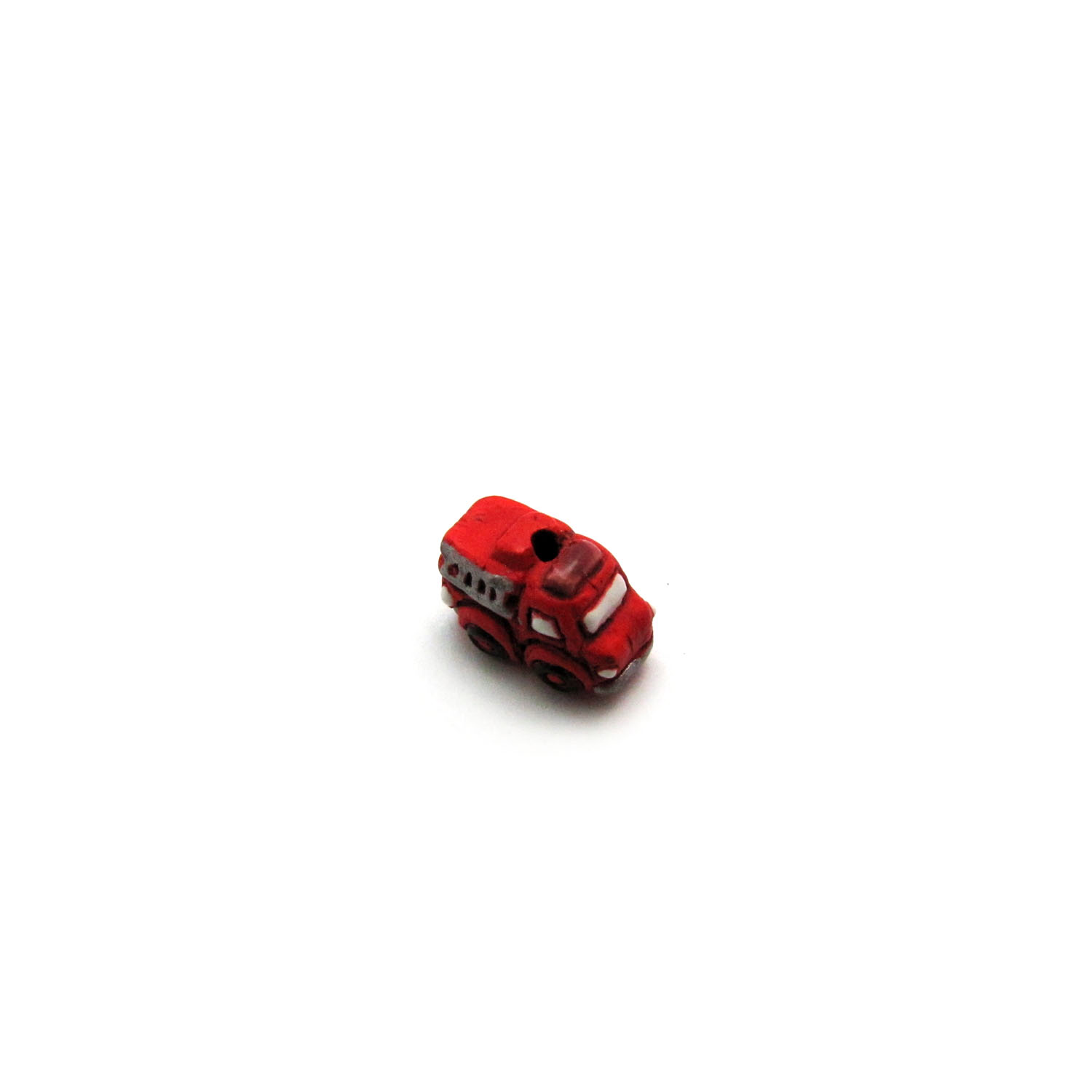 ceramic bead small fire truck front angled view