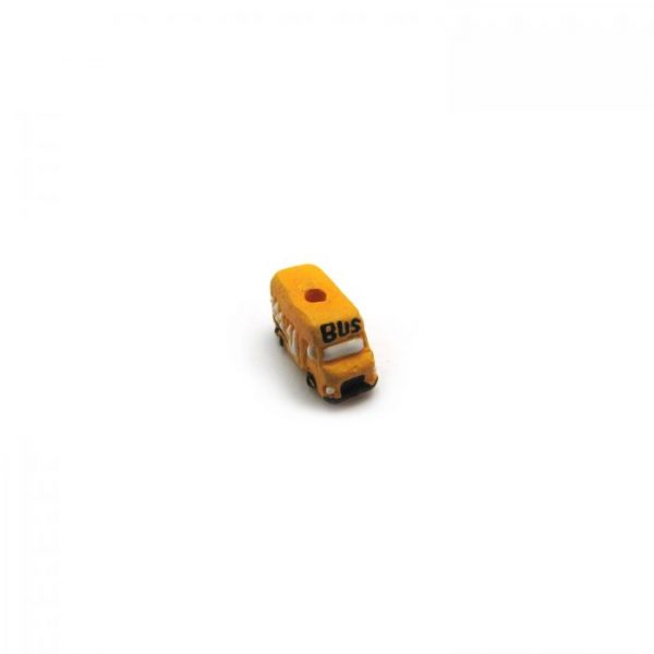 ceramic bead small yellow school bus front angled view