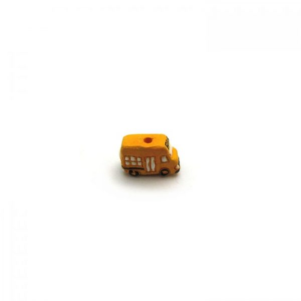 ceramic bead small yellow school bus side on view