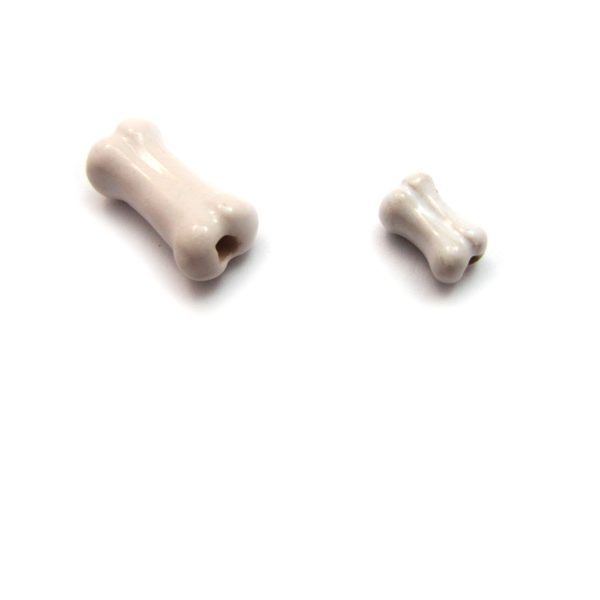 ceramic beads large and small Bone side view
