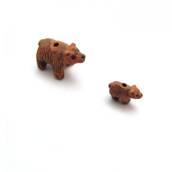 brown bear ceramic beads large and small