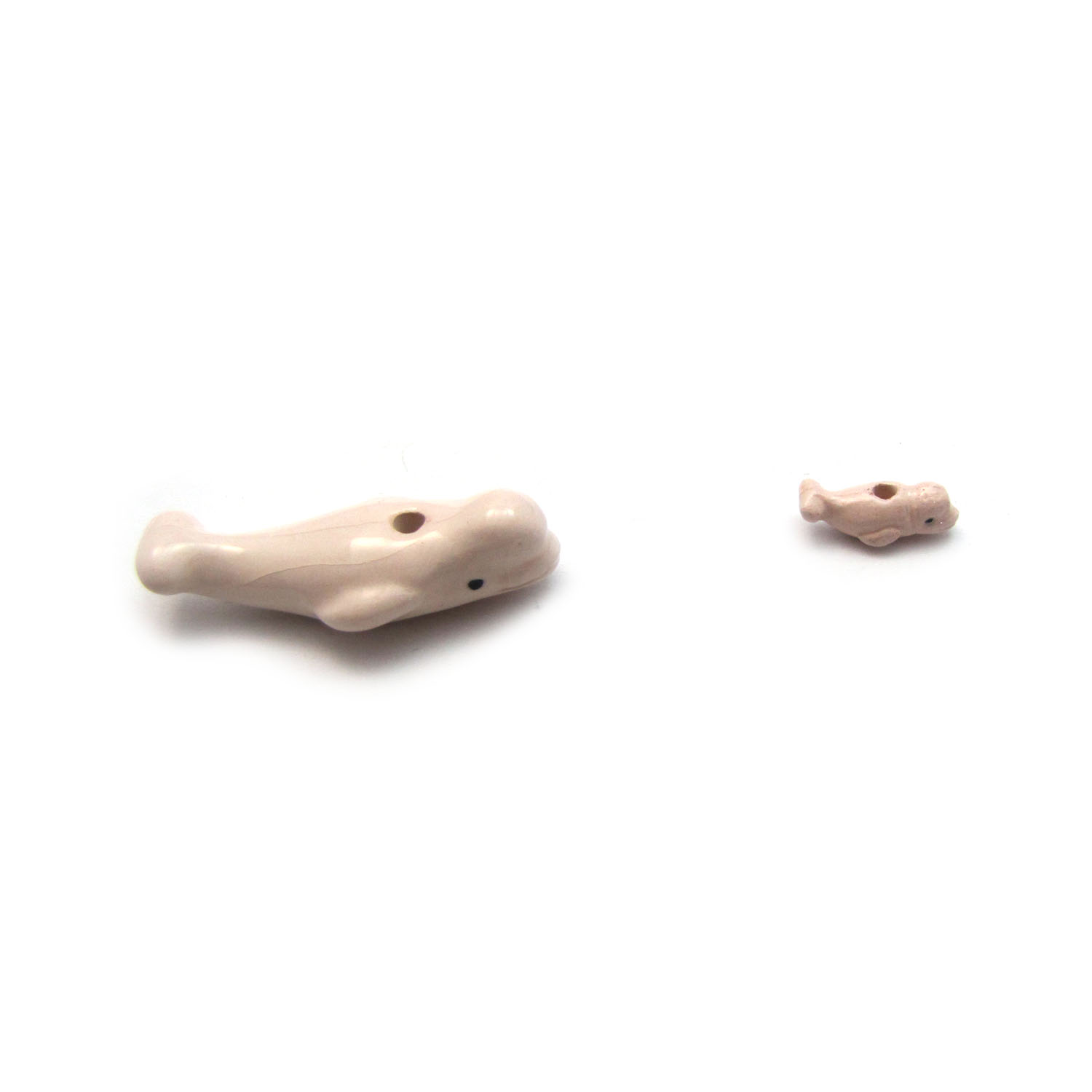 ceramic beads large and small beluga side on view