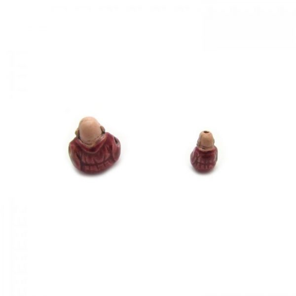 ceramic beads large and small buddha in red robe back view
