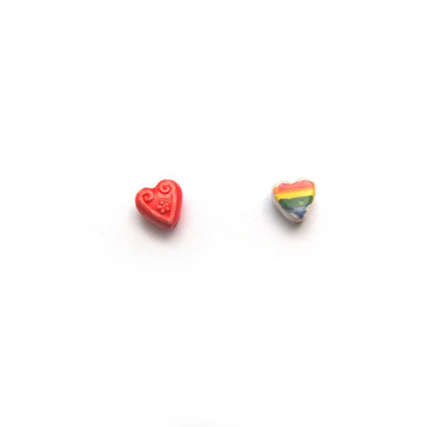 ceramic beads large and small candy heart