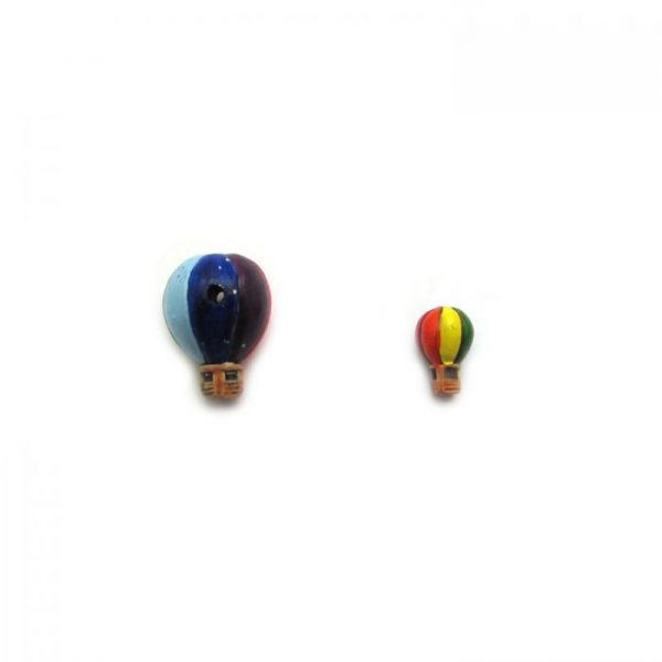 ceramic beads large and small hot air balloon blue side view