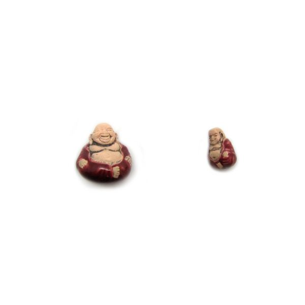 ceramic beads large and small sitting buddha in red robe front view