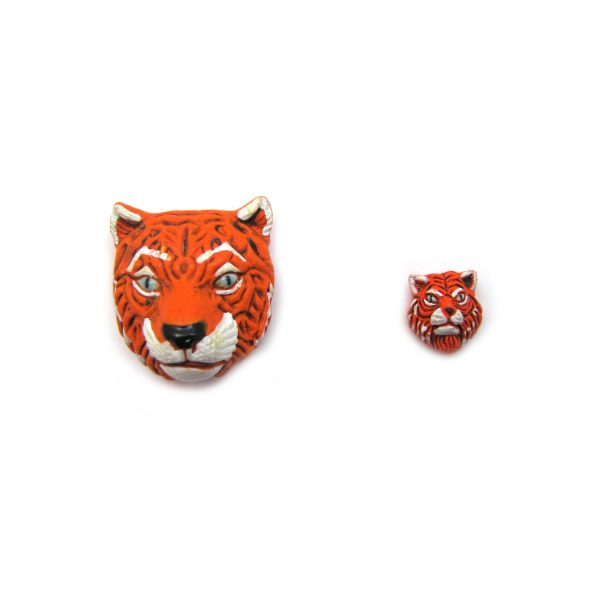 ceramic beads large and small tiger face front view