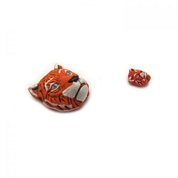 ceramic beads large and small tiger face side view