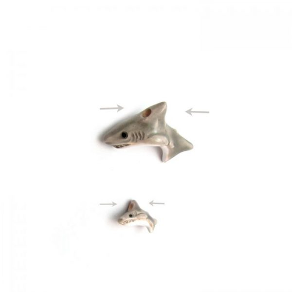 ceramic animal beads large and small - shark