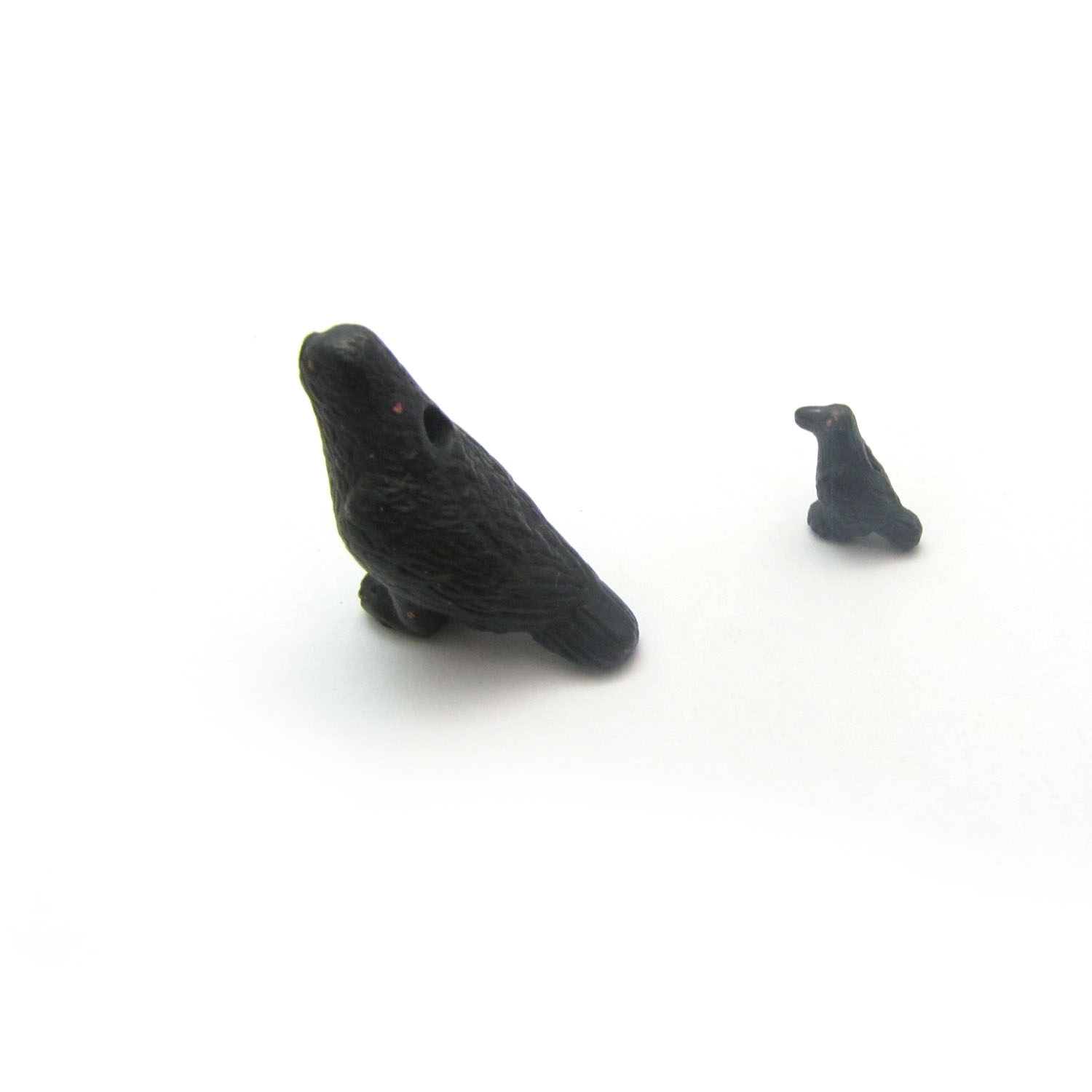 crow ceramic beads large and small