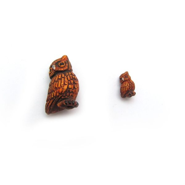 great horned owl ceramic animal bead small