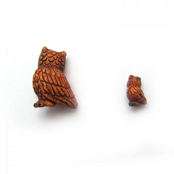 great horned owl ceramic animal bead small