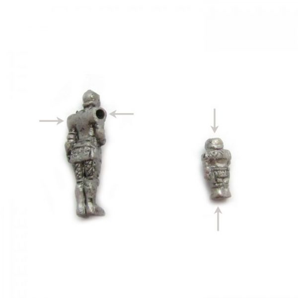 knight from back showing bead hole large and small ceramic beads