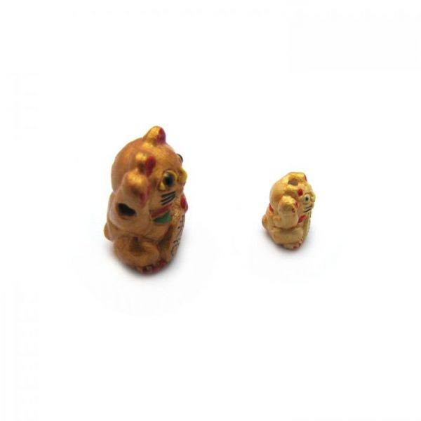 lucky cat side on large and small ceramic beads