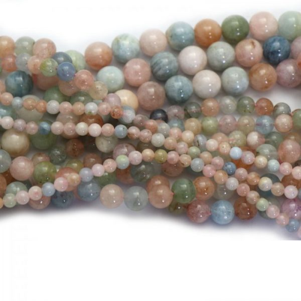 morganite multicolour strand smooth round stones group image