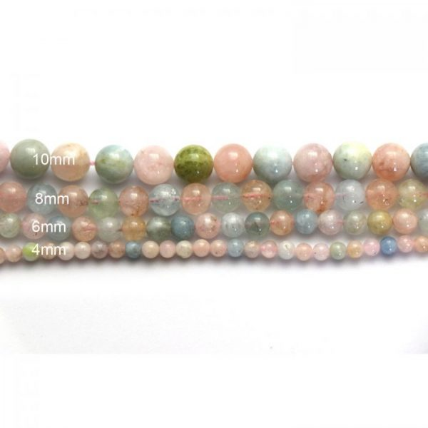 morganite multicolour strand smooth round stones size comparison