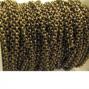 rolo chain 15XB base metal - brass oxidised length