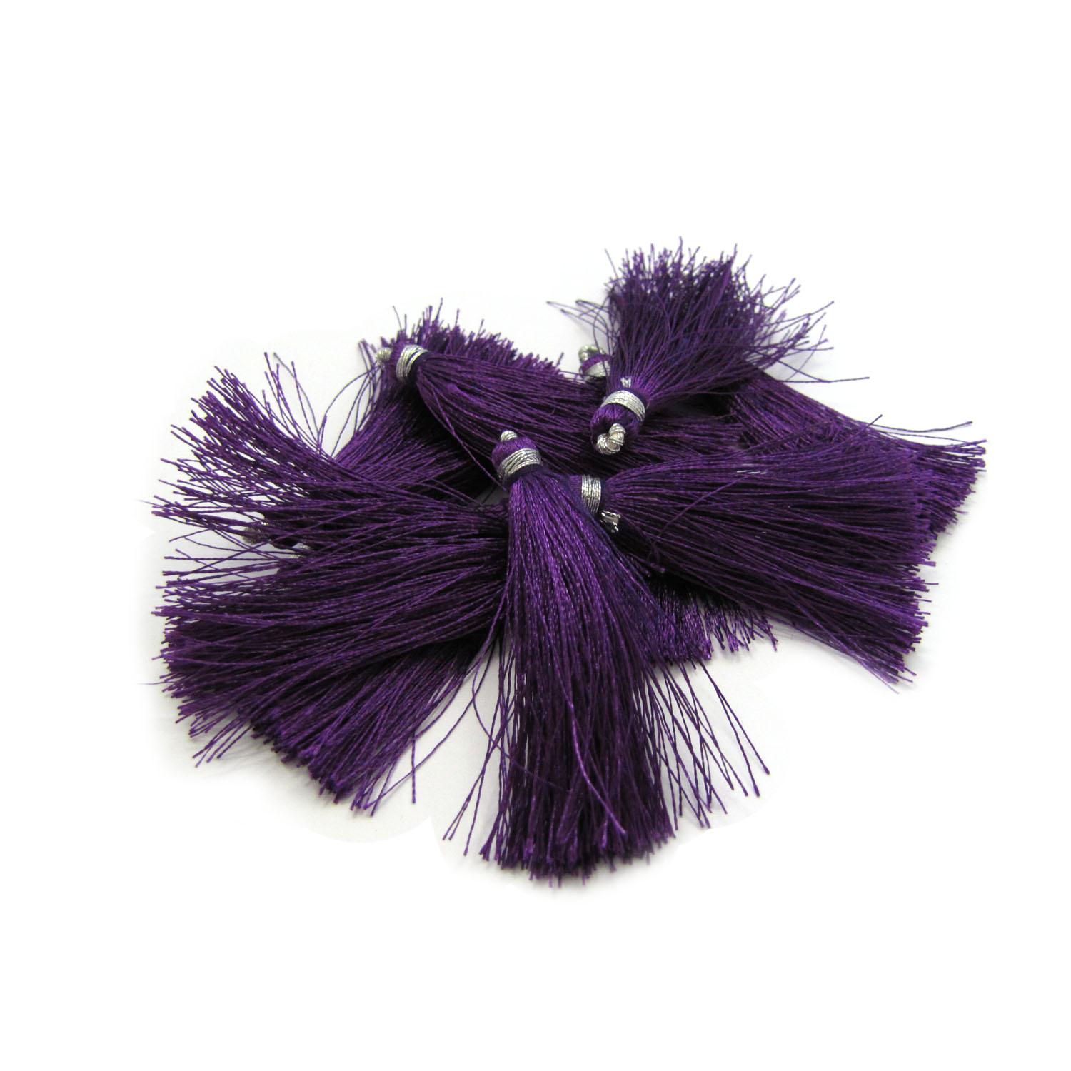 4.5cm silk tassel with silver loop - amethyst