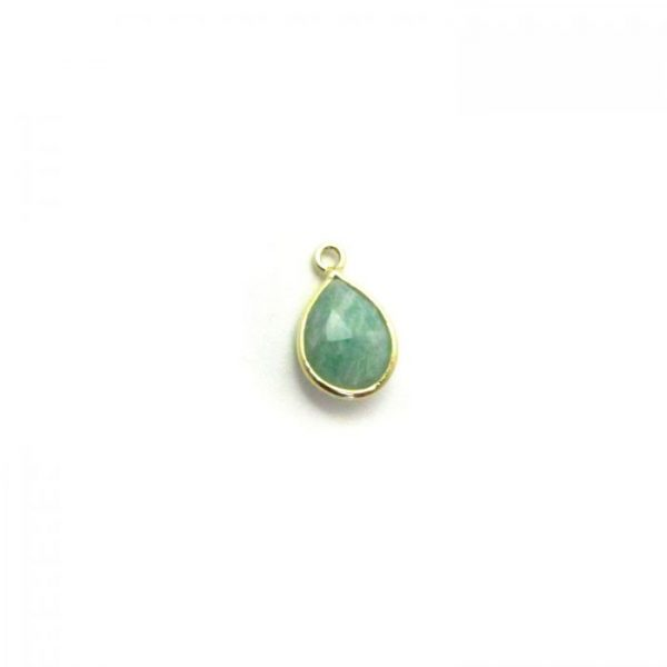 Amazonite Gold Edged drop with loop