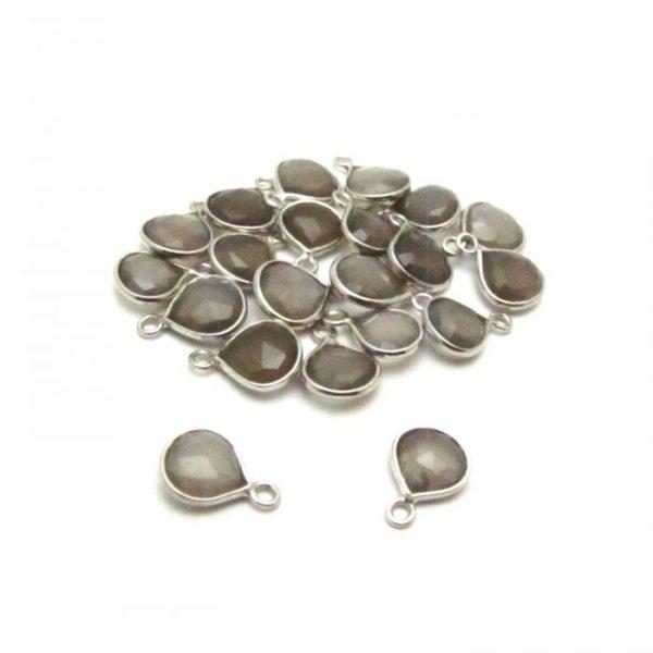 Grey Moonstone silver edged drop